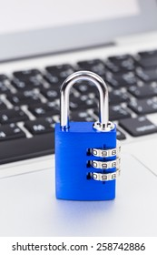 Padlock on keyboard concept computer security
