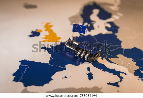 Padlock over EU map, symbolizing the EU General Data Protection Regulation or GDPR. Also suitable for ePivacy or ePR and EU Copyright directives