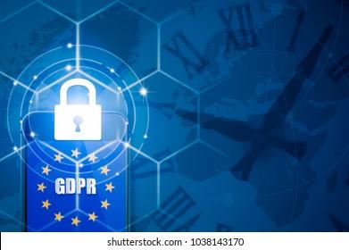 Padlock over smartphone and EU flag inside mobile phone and EU map, symbolizing the EU General Data Protection Regulation or GDPR. Designed to harmonize data privacy laws across Europe.