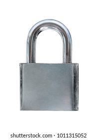 padlock in the position, isolated on White floor