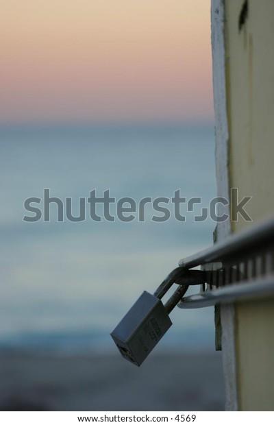padlock protects lifeguard shack