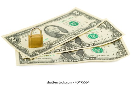 padlock in stack of american dollars isolated on white