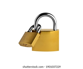 PADLOCK. Two linked yellow metallic padlocks on white background. Clipping Path.