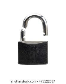 Padlock which is broken isolated on a white background.