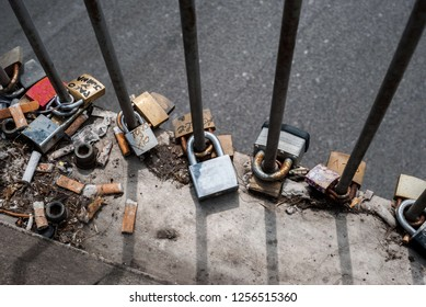 Padlocks and cigarettes on the road