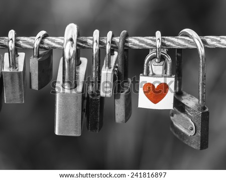 Padlocks with heart shape