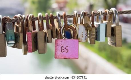 padlocks on Butcher's Bridge in Ljubljana, Slovenia