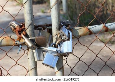 Padlocks on gate