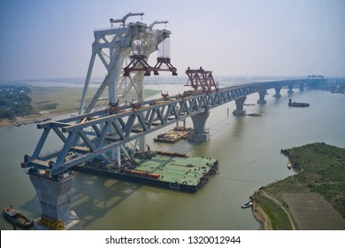 Padma Bridge Under contraction. Padma Bridge is not a dream, now it's reality. Already 8th span of the bridge is connected. After completing the installation of 8th span and 1200 meters is visible.
