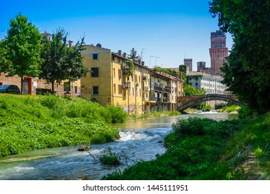 Padova, Italy - Jujy, 4, 2019: embankment of a channel in Padova, Italy
