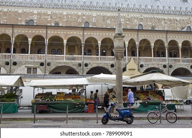 PADOVA, ITALY - JULY 2, 2016. People shopping at the fruit and vegetable market on Piazza dei Frutti with the famous loggia of Palazzo della Ragione in the background. Padua (or Padova), Italy.