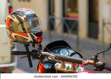 Padova, Italy - June, 4, 2019: motorcycle on a parking in a center of Padova, Italy