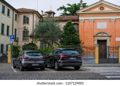 Padova, Italy - June, 6, 2018: cars on a parking in Padova, Italy