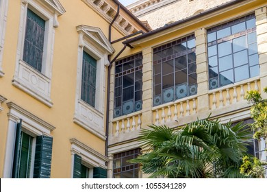 PADOVA, ITALY - MARCH 2018 - Building in the ancient part of Padua city with windows in liberty style