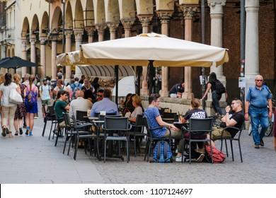 Padova, Italy - May, 6, 2018: street cafe in Padova, Italy
