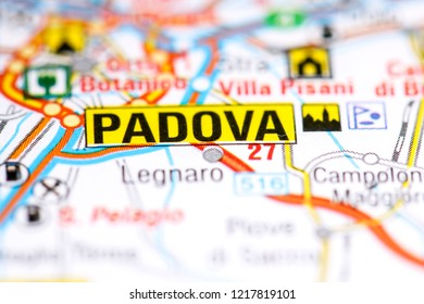 Padova. Italy on a map
