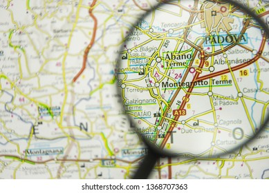 Padova region map  in Italy concept view visualisation through magnifying glass