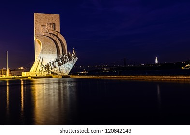 Padrao dos Descobrimentos (Monument to the Discoveries), Lisbon, Portugal, at night