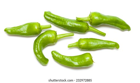 Padron peppers, pimientos de Padron, isolated on white