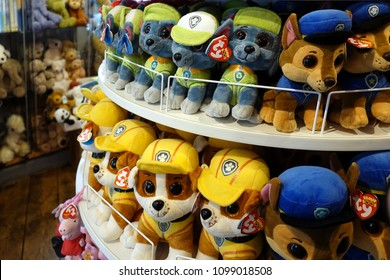 Padstow, Cornwall, April 11th 2018: Cuddly soft toys from the kids TV shop Paw Patrol for sale in a gift shop