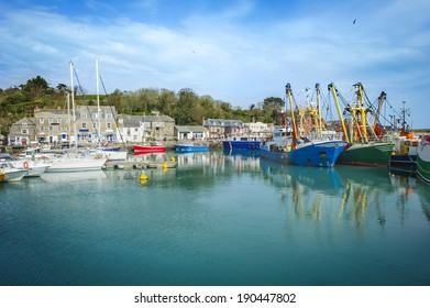Padstow harbor on a sunny summer day