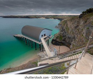 PADSTOW,CORNWALL/ENGLAND-SEPTEMBER/29/2018  Padstow RNLI lifeboat station cornwall England and the steps leading down to the building.
