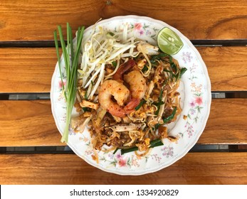 Padthai noodle with seafood. Thai food for lunch.