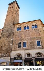 Padua / Italy / 04.17.2014. Tower of the Elderly (Torre degli Anziani) Located in the historical part of Padua near the Ragione Palace (Palazzo della Ragione)