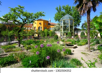 PADUA, ITALY -30 APR 2018- View of the landmark Orto Botanico di Padova at the University of Padua, the world's oldest academic botanical garden. It is a UNESCO World Heritage Site.