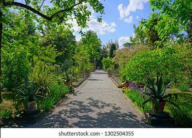 PADUA, ITALY -30 APR 2018- View of the landmark Orto Botanico di Padova at the University of Padua, the world's oldest academic botanical garden. It is a UNESCO World Heritage Site.