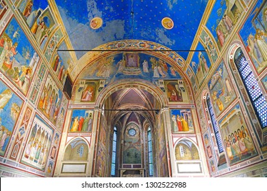 PADUA, ITALY -30 APR 2018- View of the landmark Scrovegni Chapel (Cappella degli Scrovegni, Arena Chapel), part of the Museo Civico of Padua, with a fresco cycle by Giotto completed about 1305.