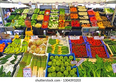 PADUA, ITALY -30 APR 2018- View of fresh fruit and vegetable at a farmers market with produce grown in Italy in Padua, in the Veneto region of Italy.