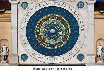 Padua, Italy, ancient astronomical clock tower and lion symbol of Veneto