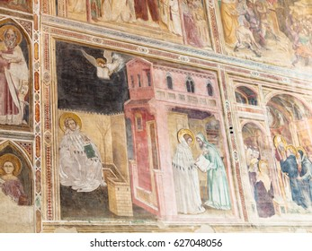 PADUA, ITALY - APRIL 1, 2017: wall decor in Church of the Eremitani (Chiesa degli Eremitani, Church of the Hermits) in Padua. It was built in 1276 and dedicated to the saints Philip and James