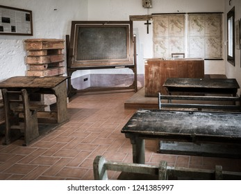 Padua, Italy - April 2, 2018: Reconstruction in a museum of an Italian public school between the first and second world war.