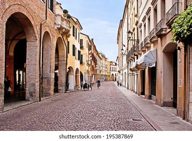 PADUA, ITALY - APRIL 23, 2012: Sometimes the medieval streets have chaotic layout, but in Padua some of them were built on the foundation of the city walls, on April 23 in Padua.