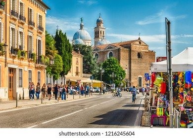 PADUA, ITALY - APRIL 28: The Benedictine abbey of Santa Giustina, facing the square of Prato della Valle in the city center of Padua, Italy, April 28, 2018