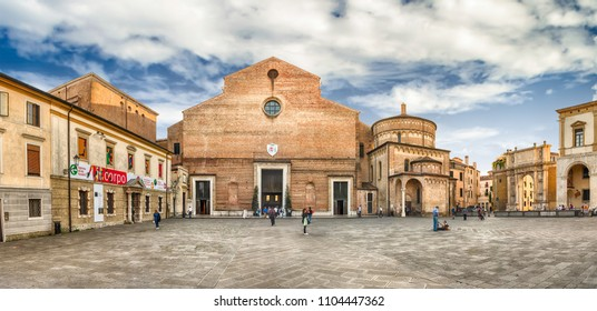 PADUA, ITALY - APRIL 28: Panoramic view with the facade of the roman catholic Cathedral and main place of catholic worship in Padua, Italy, as seen on April 28, 2018