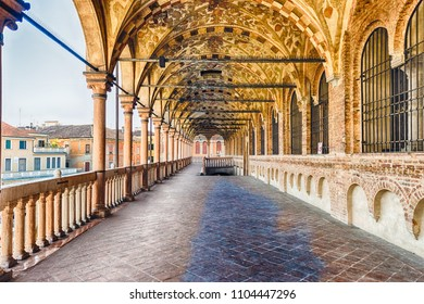 PADUA, ITALY - APRIL 28: The scenic Loggia which is the external balcony of Palazzo della Ragione, a medieval town hall building and landmark in Piazza delle Erbe, Padua, Italy, April 28, 2018