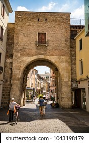 PADUA, ITALY - JULY 2, 2017: The medieval city rampart with the Porta Altinate gate nowadays located in the shopping heart of the city and leads to the Garibaldi square, on July 2 in Padua.