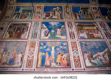 PADUA, ITALY - JULY 2, 2017: marble imitation in Scrovegni Chapel Cappella degli Scrovegni, Arena Chapel . The church contains a fresco cycle by Giotto, completed about 1305.
