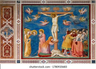 Padua, Italy - July 6, 2020: Crucifixion by Giotto in Scrovegni Chapel, Padua