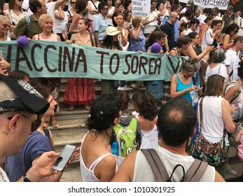 Padua Italy - June 24th 2017- pro choice vaccination - demonstrators shout slogans against the Italian government
