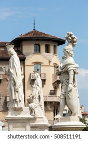 PADUA, ITALY - MAY 3, 2016: Statues on Piazza Prato della Valle, Padua, Italy.