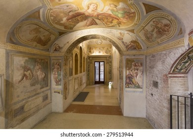 PADUA, ITALY - MAY 5, 2015: The interior of Abbey of Santa Giustina, a Benedictine abbey in the center of the City of Padua, facing the Prato della Valle, which dates from the 10th century.