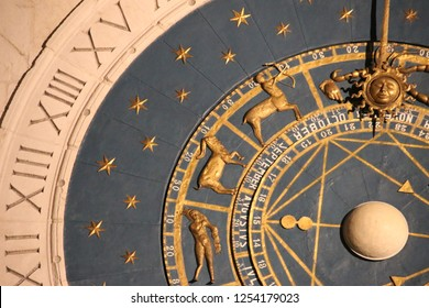 PADUA, ITALY - NOVEMBER, 2018: Padua's Astronomical Clock, close up. Piazza dei Signori in Padova, Italy