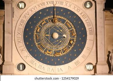 PADUA, ITALY - NOVEMBER, 2018: Padua's Astronomical Clock, close up. Piazza dei Signori in Padova, Italy