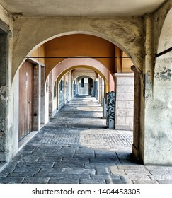 PADUA, ITALY - The scenic Loggia which is the external balcony of Palazzo della Ragione, a medieval town hall building and landmark in Piazza delle Erbe, Padua, Italy.