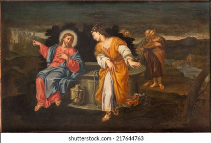 PADUA, ITALY - SEPTEMBER 10, 2014: Paint of Jesus and Samaritans at well scene in the church Chiesa di San Gaetano and the chapel of the Crucifixion by unknown painter from 17th century