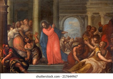 PADUA, ITALY - SEPTEMBER 10, 2014: Paint of Jesus Cleanses the Temple scene in the church Chiesa di San Gaetano and the chapel of the Crucifixion by unknown painter from 17th century
